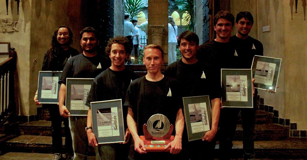 The UBC SailBot team (from left): Yasmeen Akbari, Sirous Soltanolketabi, Alex Kroitzsch, Kristoffer Vik Hansen, David Lee, Josh Andrews, and James Lee.